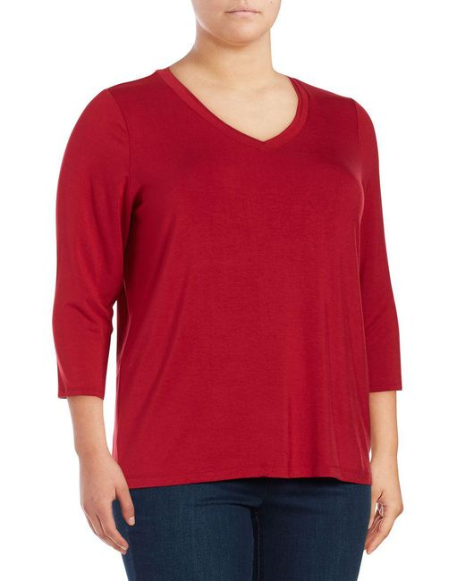 Lord & Taylor | Red Plus Imperial Women Top | Lyst
