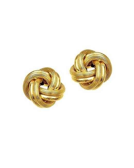 Lord & Taylor Metallic 14k Yellow Gold Knot Earrings