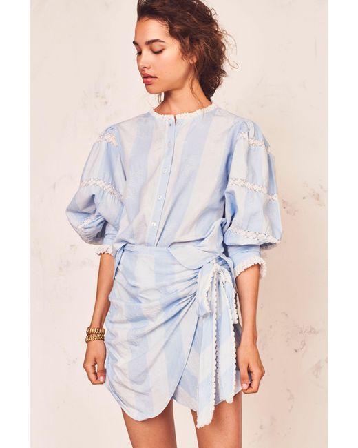 LoveShackFancy Blue Monroe Skirt