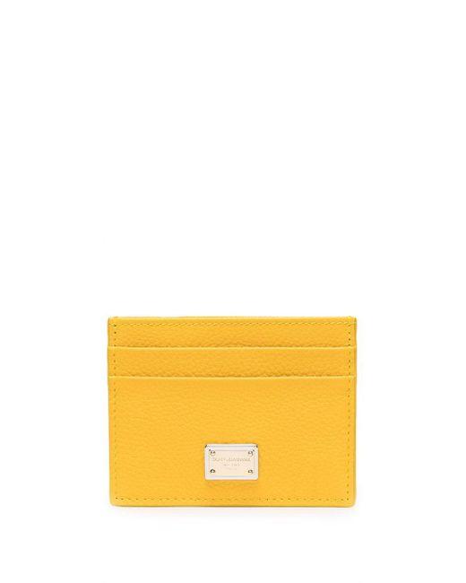 Dolce & Gabbana Yellow Logo-plaque Leather Cardholder