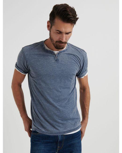 Lucky Brand - Blue Venice Burnout Button Notch Tee for Men - Lyst