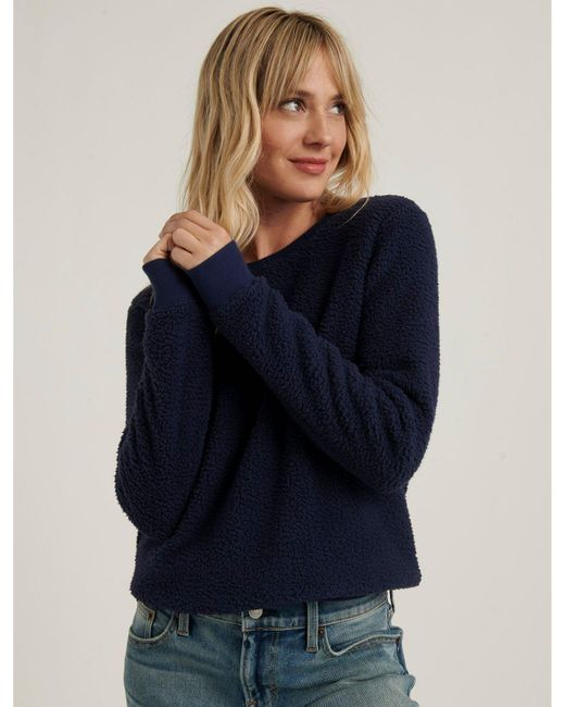 Lucky Brand Blue Sherpa Crew Neck Pullover