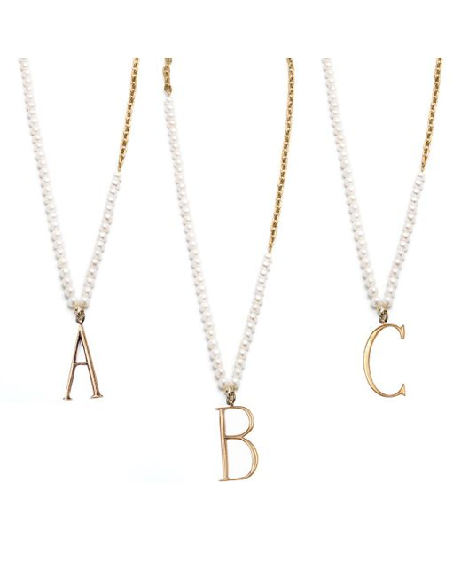 Lulu Frost | White Plaza Letter Necklace - Pearl Chain | Lyst