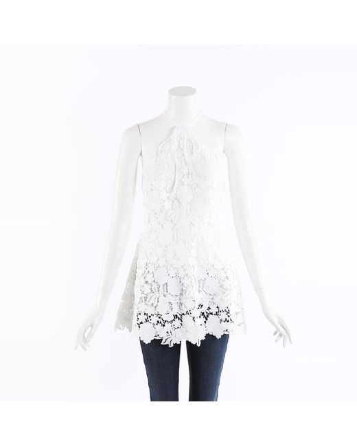 Lela Rose White Lace Halter Top
