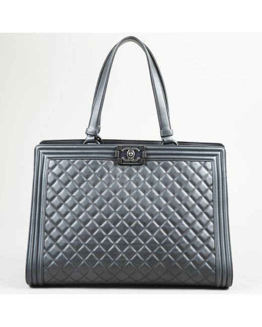 2fba2b8f369f39 Lyst Chanel Boy Ping Tote Large Quilted Leather Bag In Metallic