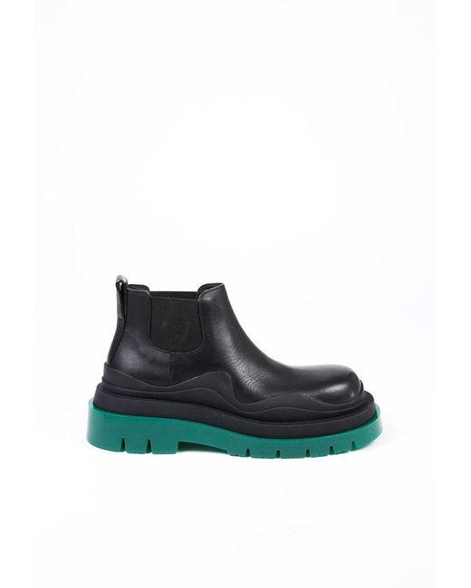 Bottega Veneta The Tire Black Leather Green Rubber Lug Sole Chelsea Boots