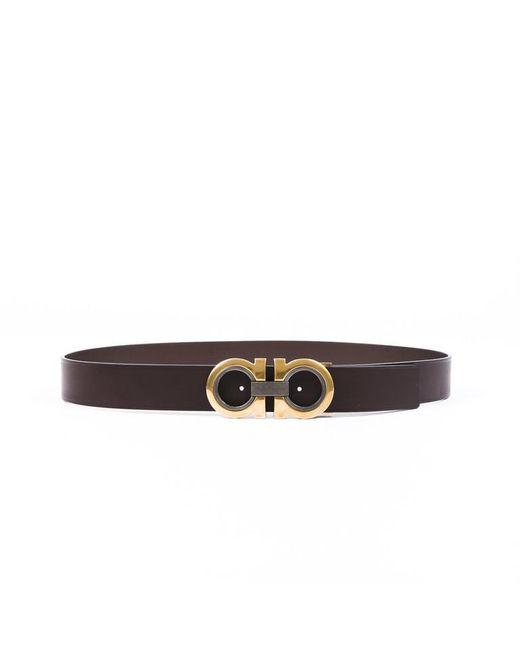 Ferragamo Brown Gancini Leather Belt