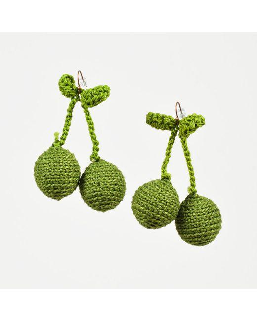 "Rosie Assoulin - Green Crochet Knit ""pair Of Cherry"" Drop Earrings - Lyst"