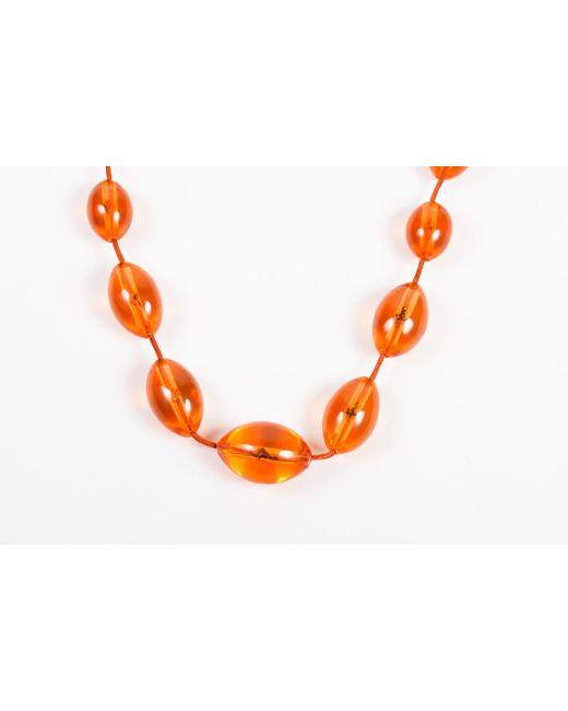Monies - Nwt Orange Plastic Chunky Beaded Cord Necklace - Lyst