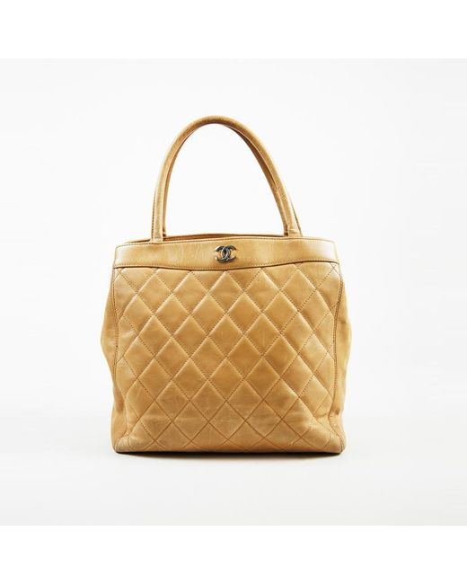 1143f2f3df51 Chanel Beige Quilted Calfskin Leather Silver Tone Cc Tote Bag In. Double  Flap Shoulder Bag