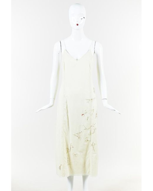 The Row Natural Lamoca Beaded Cotton Slip Dress Cream Sz: S