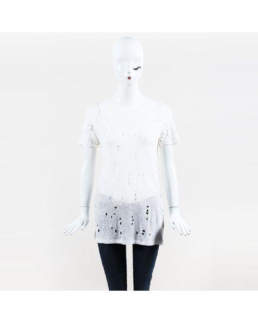 IRO White Linen Knit Distressed Short Sleeve Shirt