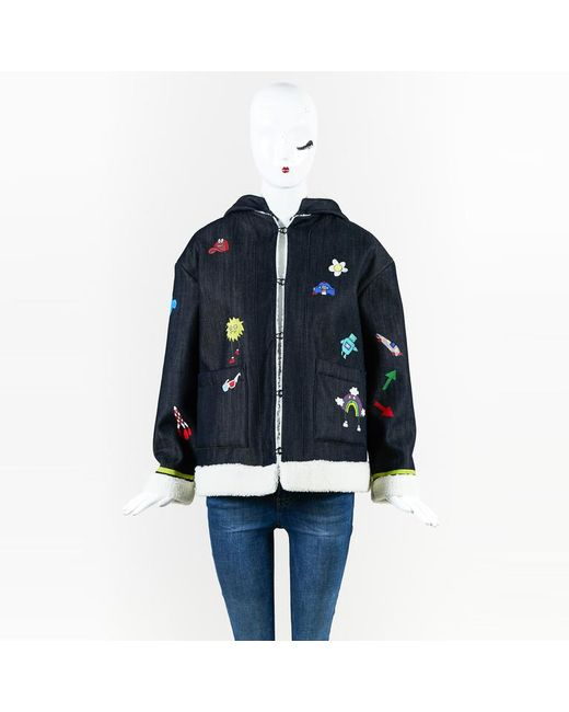 """MIRA MIKATI - Blue Nwt Multicolor Denim Hand-painted """"play More"""" Jacket - Lyst"""