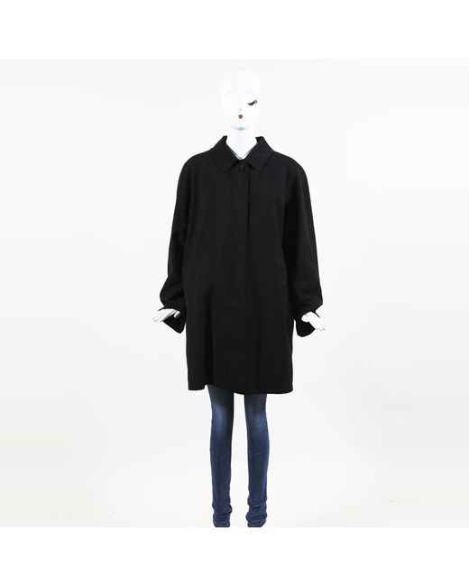 Burberry - London Black Wool & Camel Hair Buttoned Coat - Lyst