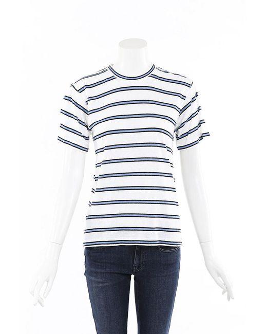 Derek Lam 10 Crosby Blue White Striped Linen T-shirt