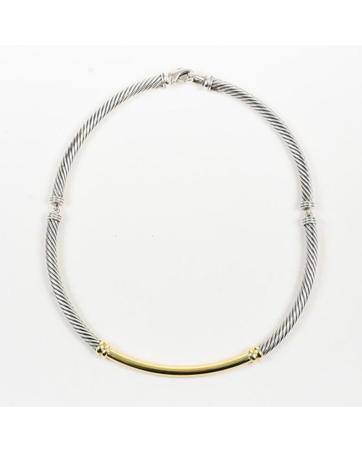 "David Yurman - Metallic ""metro"" Sterling Silver & 14k Yellow Gold Cable Collar Necklace - Lyst"
