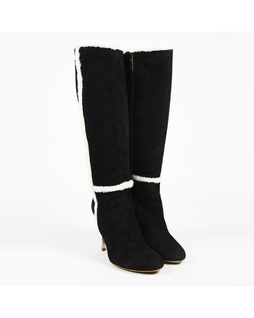 0e7df62980f5 Giuseppe Zanotti - White Black Suede   Rabbit Fur Knee High Wedge Boots -  Lyst