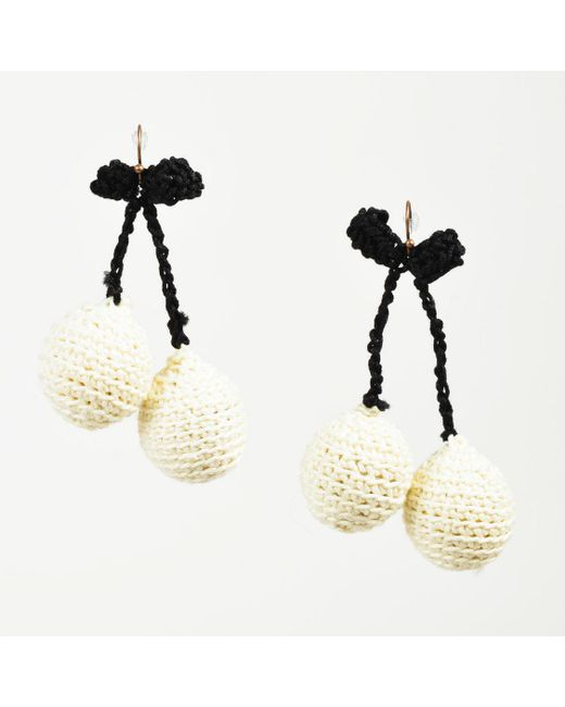 "Rosie Assoulin - Nwot Cream And Black Crochet Knit ""pair Of Cherry"" Drop Earrings - Lyst"