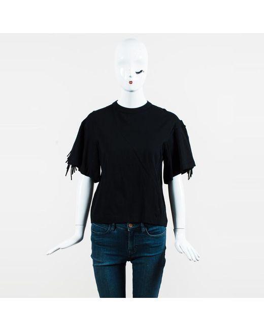 Toga Pulla - Black Cotton Jersey Fringe Sleeve T Shirt - Lyst
