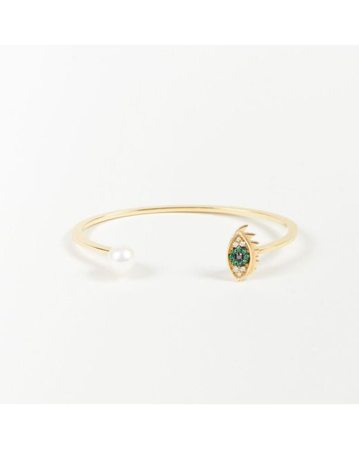 "Delfina Delettrez - Metallic 18k Yellow Gold Diamond Pearl & Emerald ""eyes On Me"" Bangle - Lyst"