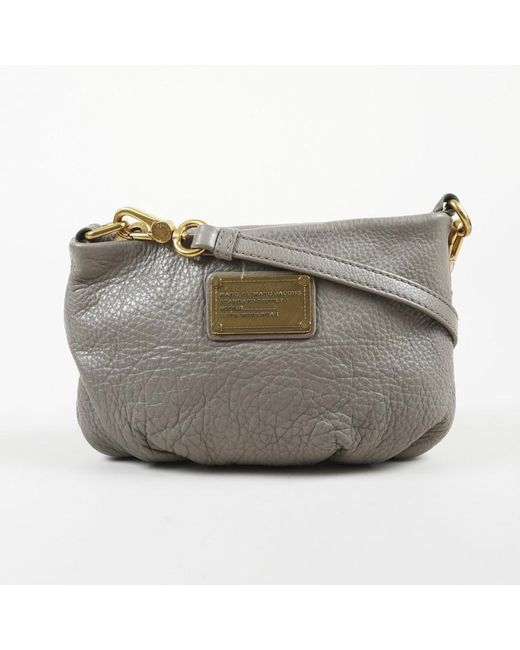 Marc By Marc Jacobs - Gray Pebbled Leather Gold Tone Shoulder Bag - Lyst