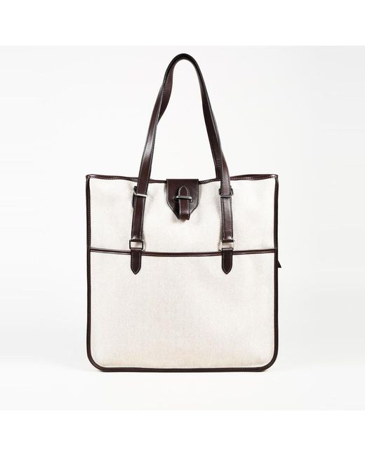 Hermès Toile Canvas Leather Tote Bag in Natural - Lyst 1bed7790bbd72