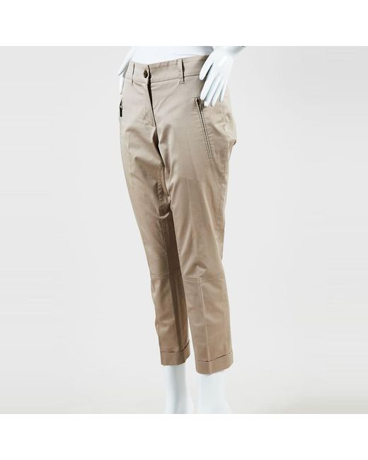 Brunello Cucinelli - Natural Beige Cotton Blend Slim Leg Riding Pants - Lyst