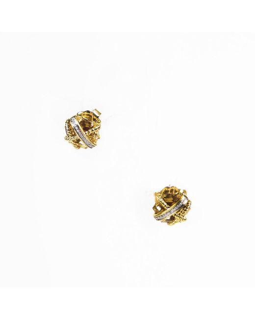 David Yurman - Metallic Champagne Citrine 18k Gold & Diamond Cable Wrap Earrings - Lyst