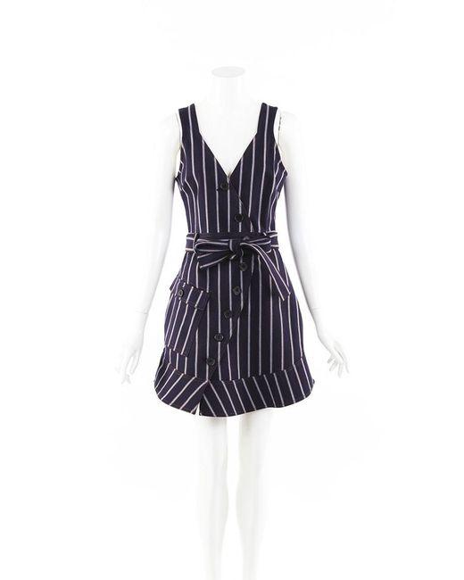 Derek Lam Blue 10 Crosby Striped Buttoned Dress