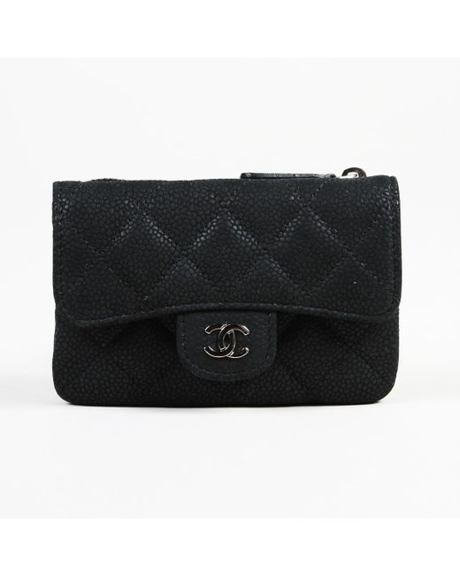 Chanel - Black 2012-2013 Quilted Caviar Leather 'cc' Coin Purse - Lyst