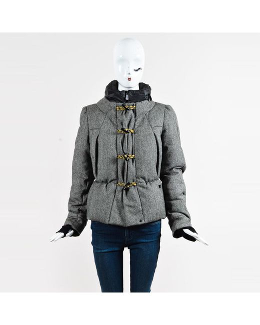 Moncler - Gray Wool Down Filled Toggle Front Hooded Coat - Lyst