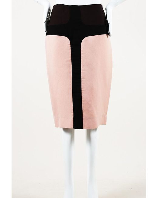 Marni Black Pink Color Block Midi Skirt