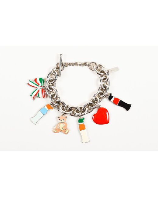 Moschino - Metallic Silver Tone Multicolor Enamel Chunky Chain Charm Bracelet - Lyst