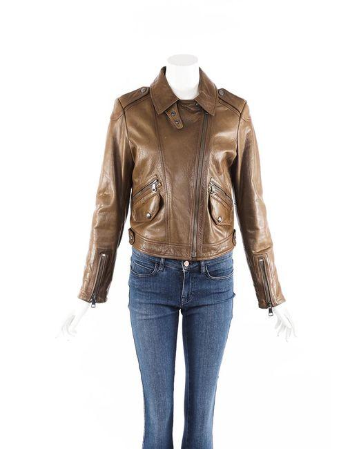 Burberry Brit Brown Leather Moto Jacket Brown Sz: M