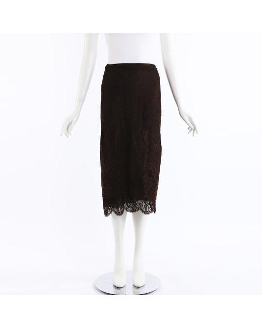 Ralph Lauren Black Collection Sheer Lace Midi Skirt