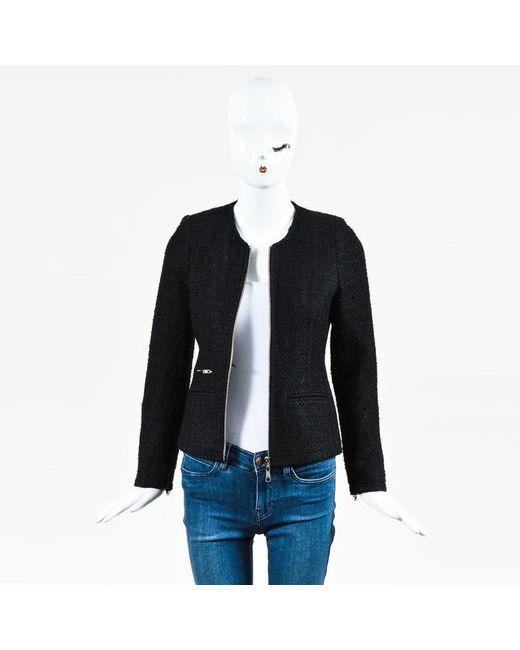 Anine Bing - Black Wool Blend Tweed Zip Up Jacket - Lyst