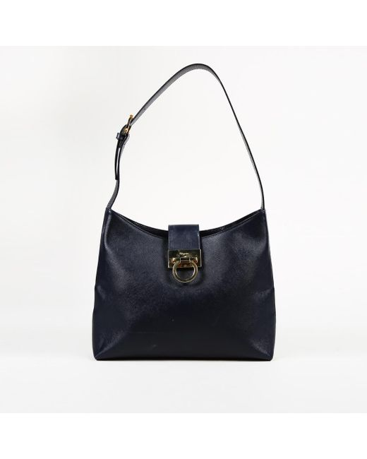 Ferragamo - Blue Leather Shoulder Bag - Lyst
