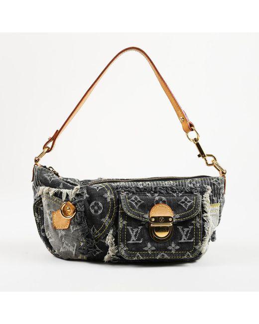 """Louis Vuitton - Black Monogram Denim Leather Trim """"patchwork Pouchy"""" Shoulder Bag - Lyst"""