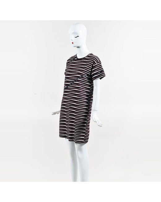 Lyst Carven Red Black White Cotton Short Sleeve Striped Shift