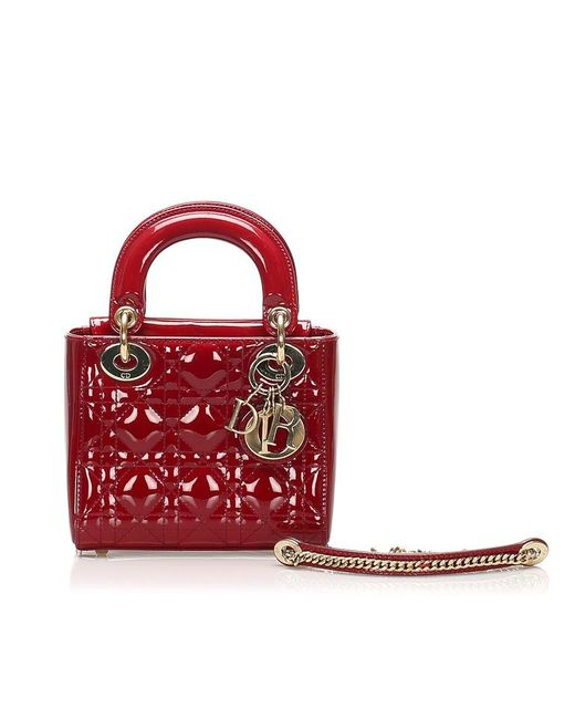 Dior Red Cannage Lady Dior Patent Leather Satchel