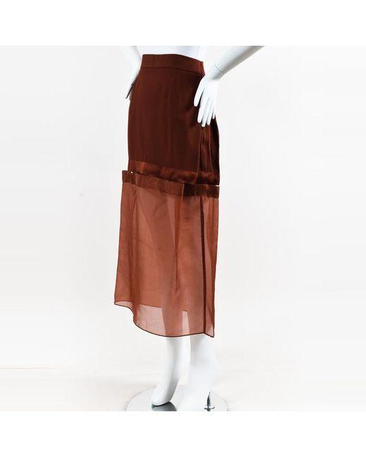 Stella McCartney Red Crepe & Sheer Paneled Midi Skirt