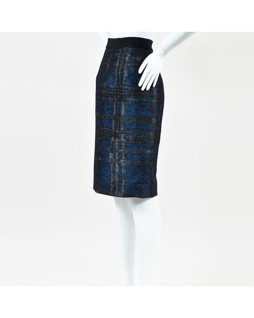 Giambattista Valli - Blue Multicolor Silk Printed Pencil Skirt - Lyst
