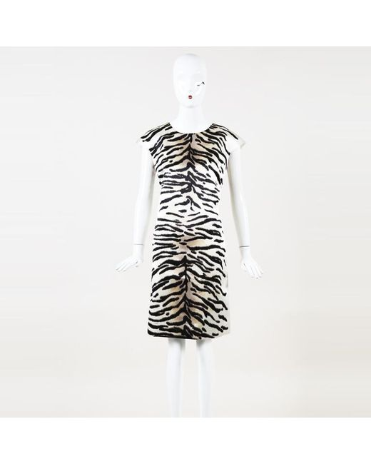 Women S White Zebra Print Silk Sheath Dress