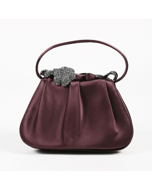 Rodo - Purple Pleated Satin Crystal Embellished Top Handle Bag - Lyst