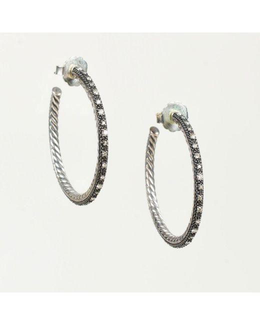"David Yurman - Metallic Sterling Silver Diamond ""midnight Melange"" Cable Hoop Earrings - Lyst"