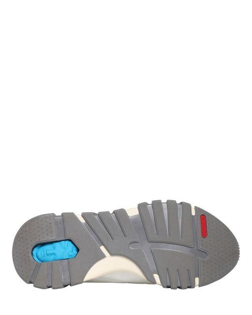 Кроссовки Из Кожи И Трикотажа 50мм Versace для него, цвет: White