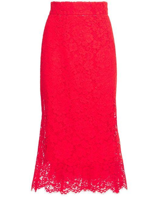 Dolce & Gabbana レースフレアスカート Red