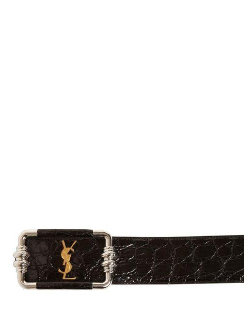 Кожаный Ремень С Крокодиловым Тиснением 4.5cm Saint Laurent, цвет: Black