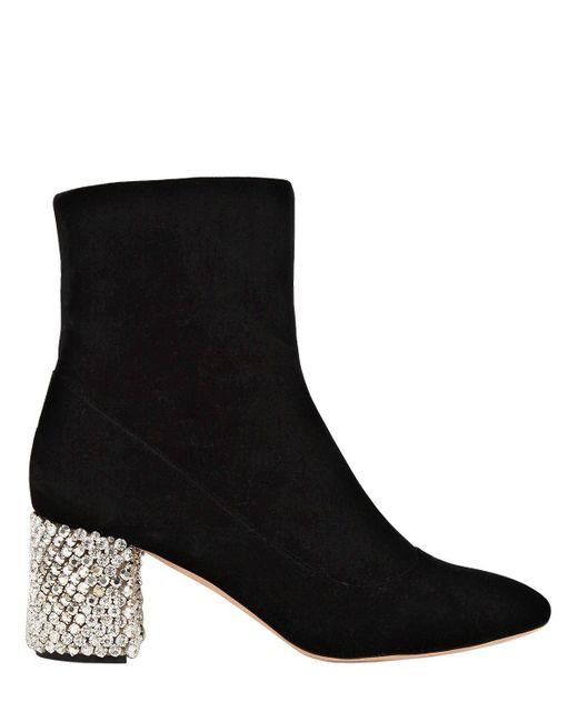 Rochas - Black 60mm Velvet Boots With Crystal Heel - Lyst