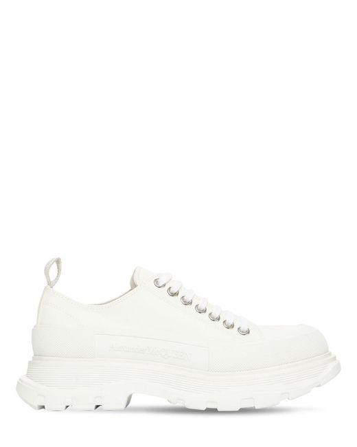 Кроссовки Из Хлопкового Канваса 45мм Alexander McQueen, цвет: White